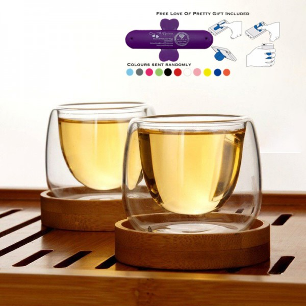 heat-resistant 75ml-100ml double walled shooter/ Expresso glasses with wooden base/coasters  - set of 2