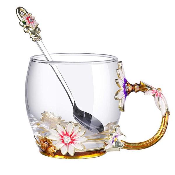 Short Daisy Mug With Enamel Decor & Spoon