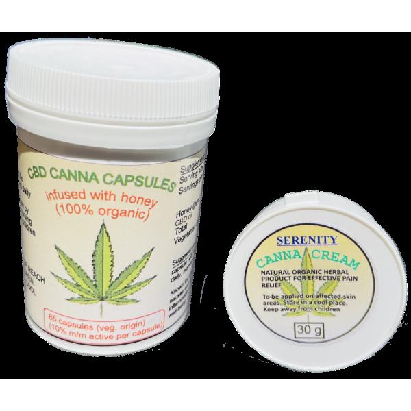 Organic Canna Cream and 100% Organic CBD Canna Cap...