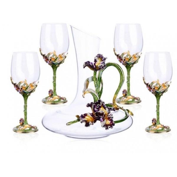 5 piece Matching Lead Crystal Wine Glass Set With Garden Enamel Decor