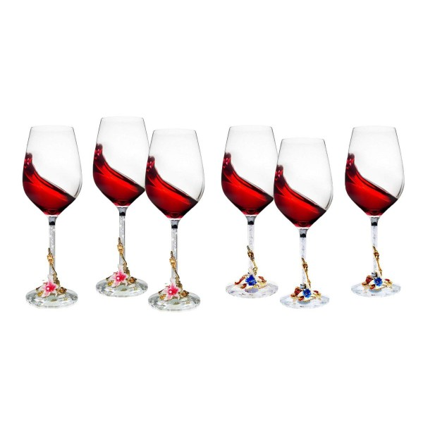 6 Piece Wine Glass Set With Rhinestone Filled Stem...