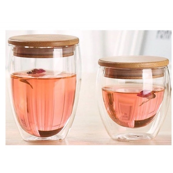 Double Walled Glass Mugs with Bamboo Lid +-350ml capacity - Set of 2