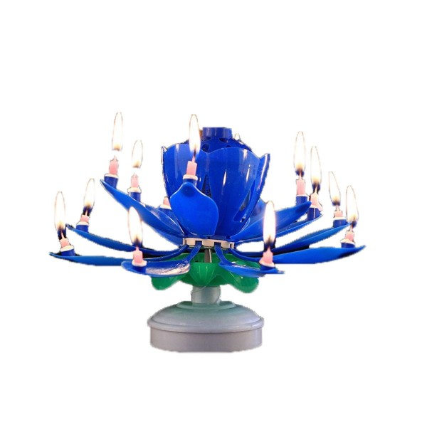 14 Stick Rotating Musical Lotus Flower Birthday Candle Set of 2