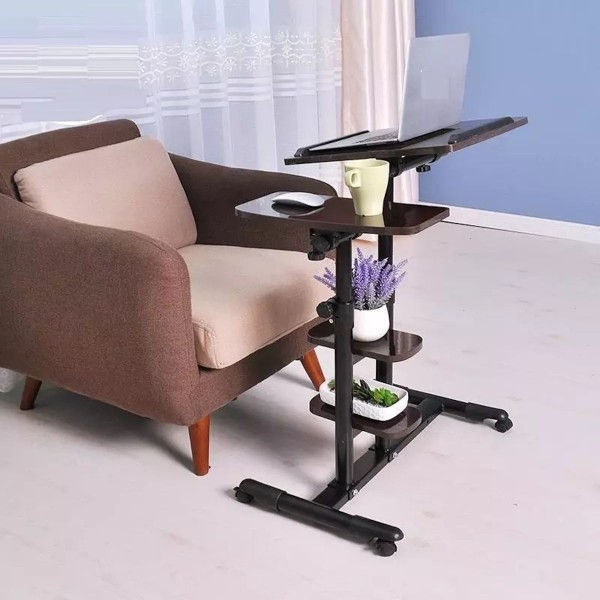 Multi-Functional Adjustable Laptop Table with two mini Shelves and wheels