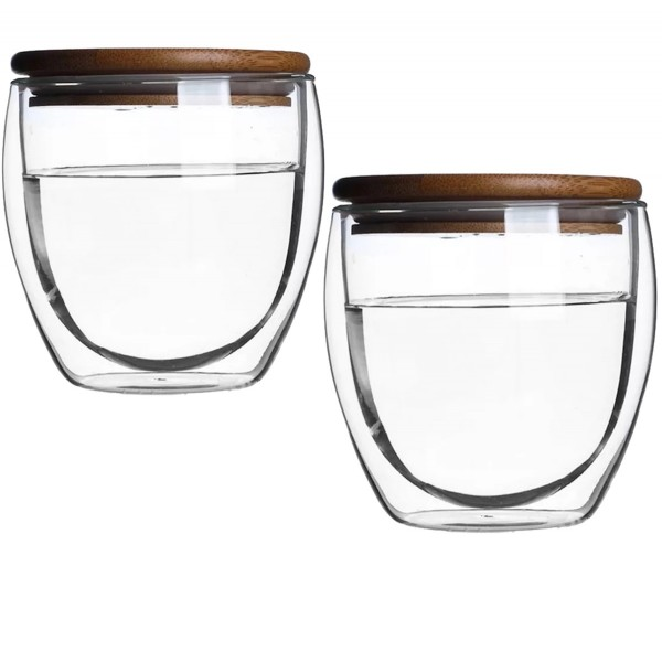 Double-Walled Glass Mugs With Bamboo Lid